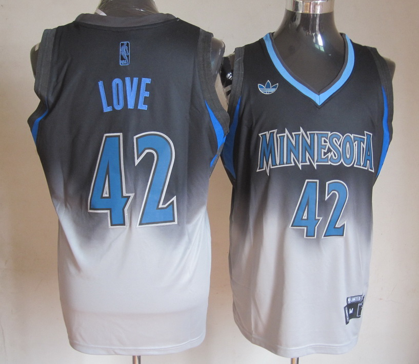 NBA Minnesota Timberwolves 42 Kevin Love Black Grey Jerseys