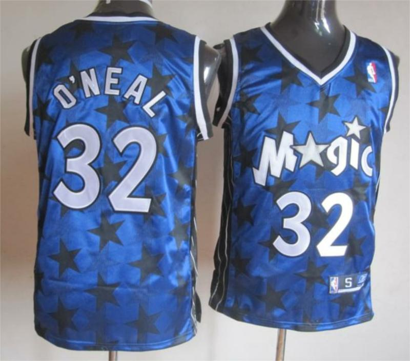 NBA Orlando Magic 32 Shaquille O'Neal Blue With Black Star Swingman