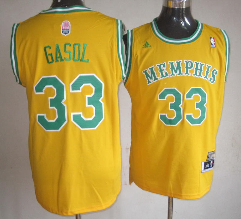 NBA Memphis Grizzlies 33 Marc Gasol Yellow Jerseys
