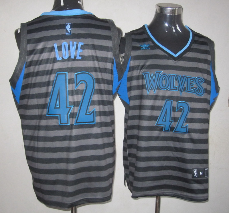 NBA Minnesota Timberwolves 42 Kevin Love grey with black strip Jersey