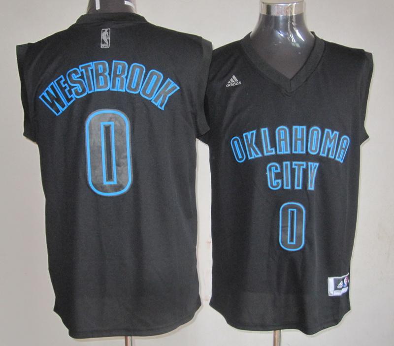 NBA Oklahoma Thunders 0 Russell Westbrook Black Jerseys