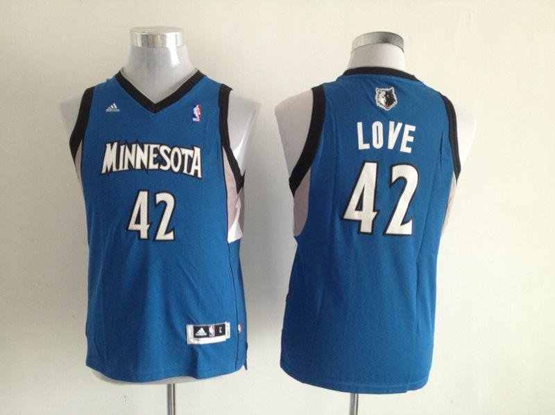 NBA Youth Minnesota Timberwolves 42 Kevin Love Blue Jerseys