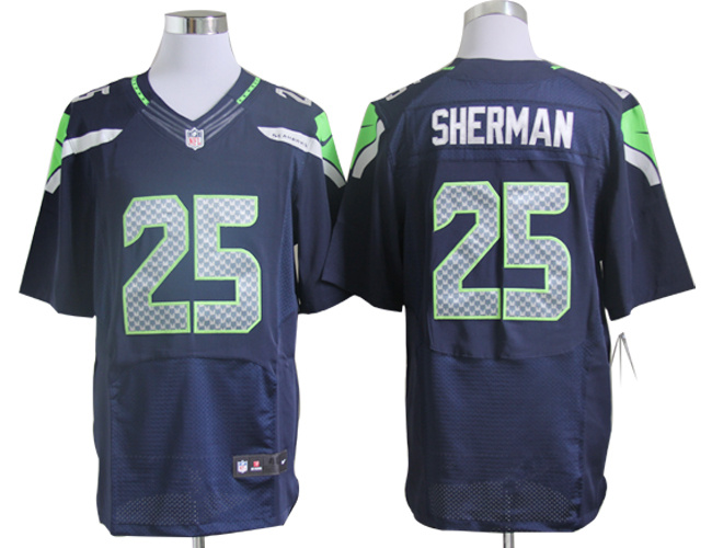 Seattle Seahawks 25 Sherman Blue Nike Elite Jerseys