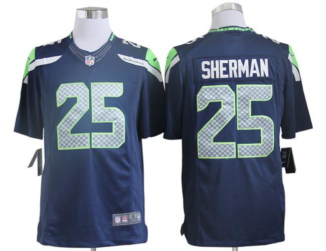 Seattle Seahawks 25 Sherman Blue Nike Game Jersey