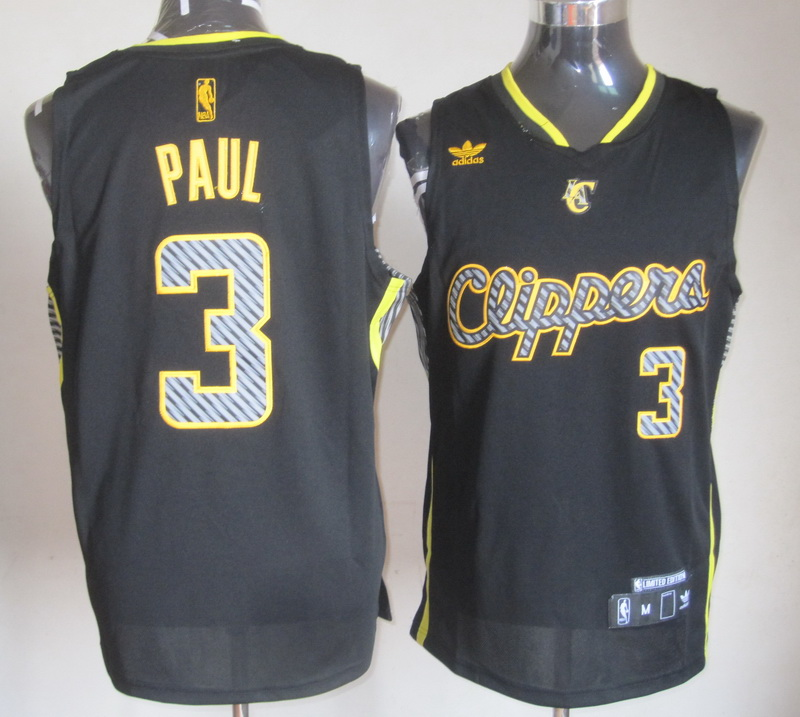 NBA Los Angeles Clippers 3 Chris Paul Black 2014 New Black With Yellow Jersey