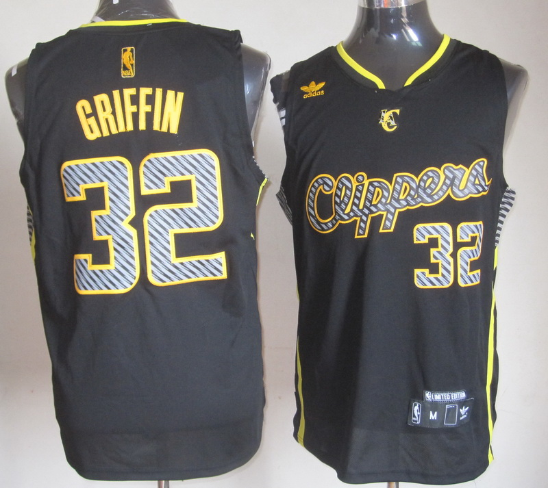 NBA Los Angeles Clippers 32 Griffin Black 2014 New Black With Yellow Jersey