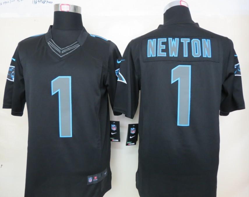 Carolina Panthers 1 Newton Nike Impact Limited Black Jerseys