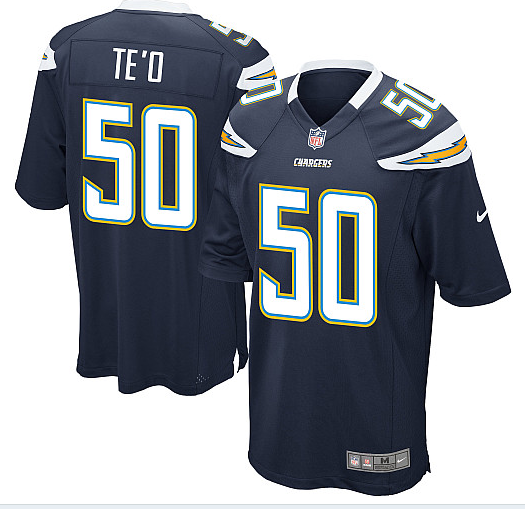 San Diego Chargers 50 TE'O Blue Nike Game Jerseys