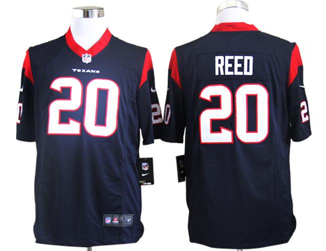 Houston Texans 20 Ed Reed Blue Nike Game Jerseys