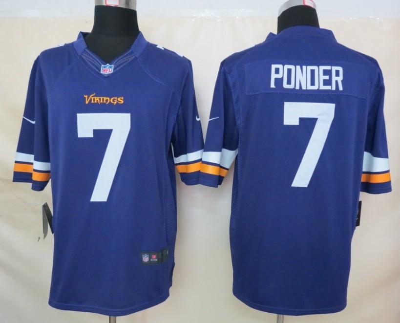 Minnesota Vikings 7 Ponder Purple Nike Limited Jerseys
