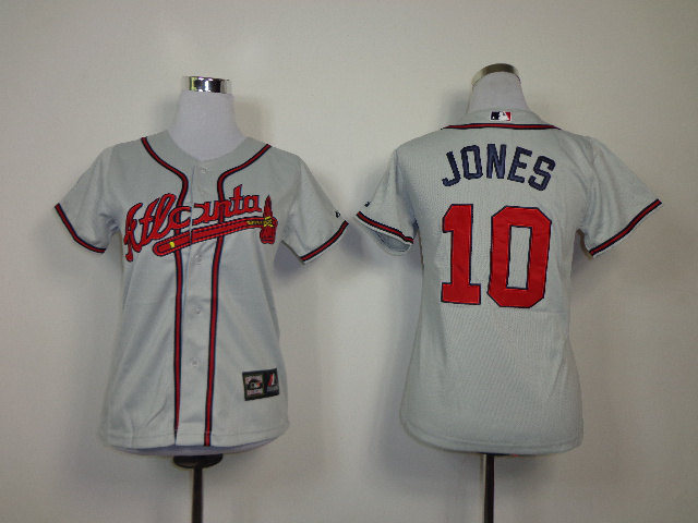 MLB Womens Atlanta Braves 10 Jones grey Jerseys