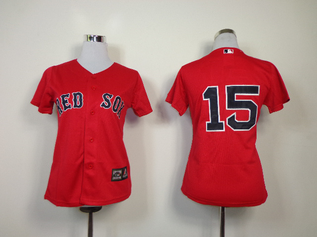 MLB Womens Boston Red Sox 15 Pedroia Red Jerseys