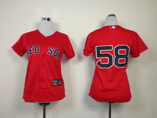 MLB Womens Boston Red Sox 58 Red Cool Base Jerseys