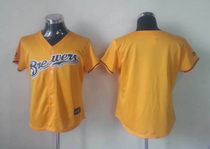 MLB Womens Milwaukee Brewers Blank Yellow Jersey