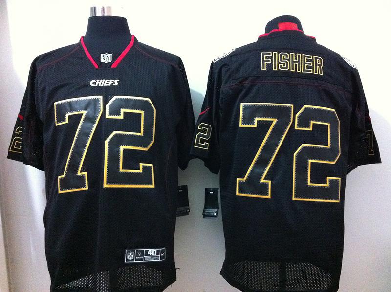 Kansas City Chiefs 72 Fisher Black Nike Elite Champs Tackle Twill Jerseys