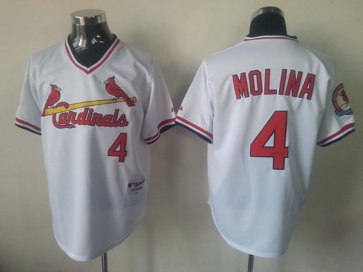 MLB St.Louis Cardinals 4 Yadier Molina White Jersey