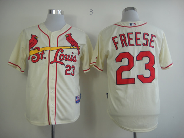 MLB St.Louis Cardinals 23 David Freese Cream Jersey