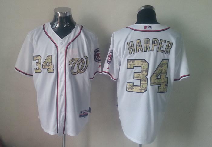 MLB Washington Nationals 34 Bryce Harper Camo Jerseys