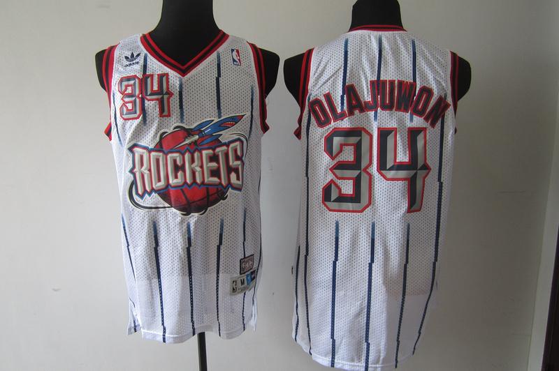 NBA Houston Rockets 34 Hakeem Olajuwon White Jerseys