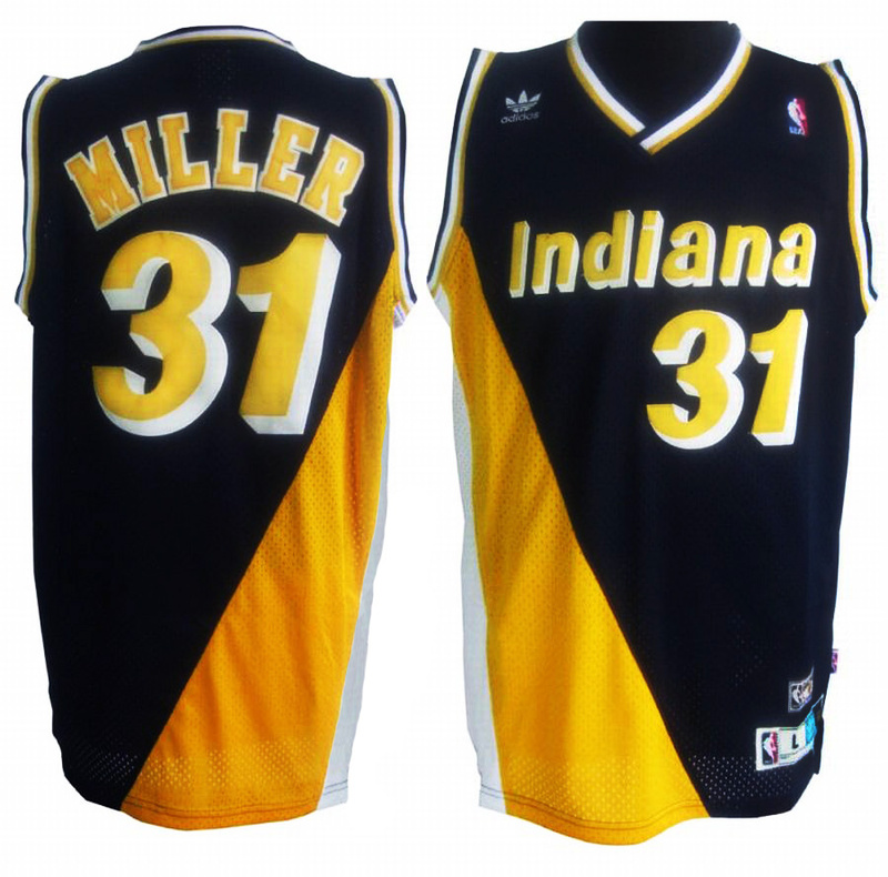 NBA Indiana Pacers 31 Reggie Miller Blue and yellow jerseys