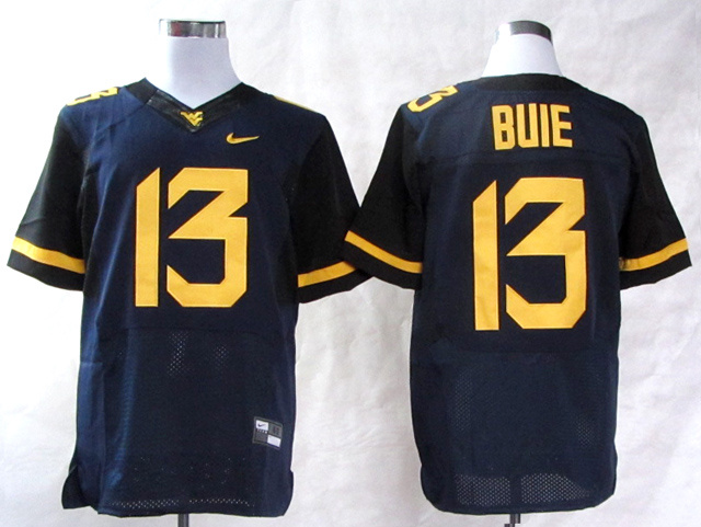 NCAA West Virginia Mountaineers 13 Andrew Buie Blue College Football Elite Jerseys