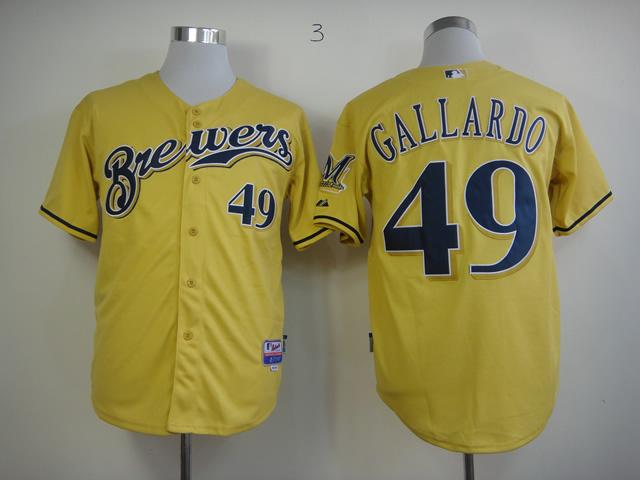 MLB Milwaukee Brewers 2013 Authentic 49 Gallardo Alternate Cool Base Jersey
