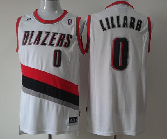 NBA Portland Trail Blazers 0 Damian Lillard White Swingman Jersey