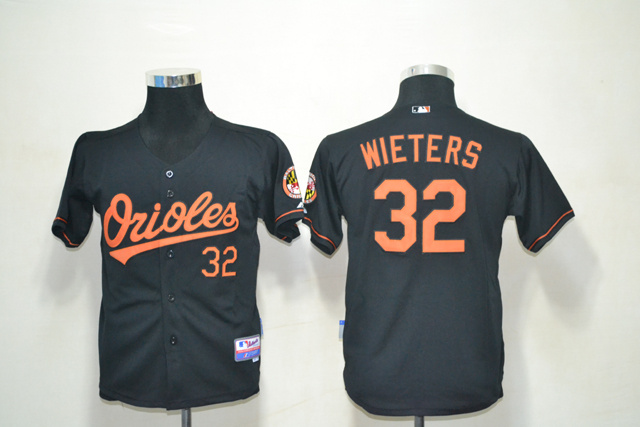 MLB Youth Baltimore Orioles 32 Wieters Black Jerseys