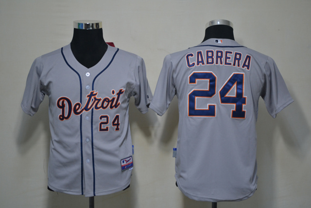 MLB Youth Detroit Tigers 24 Cabrera Grey Jerseys