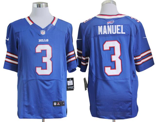 Buffalo Bills 3 EJ Manuel Blue Nike Elite Jerseys