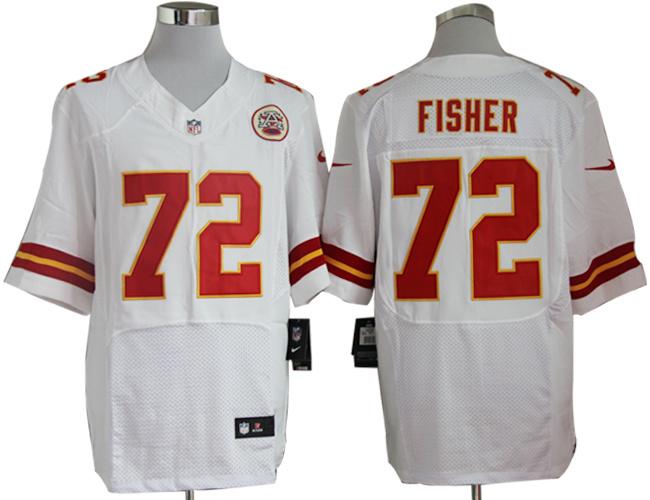 Kansas City Chiefs 72 Eric Fisher White Nike Elite Jerseys
