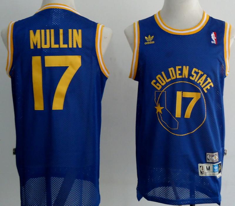 NBA Golden State Warriors 17 Chris Mullin Blue Jersey