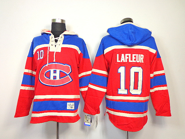NHL Montreal Canadiens 10 Lafleur Red Sawyer Lace Up Pullover Hooded Sweatshirt