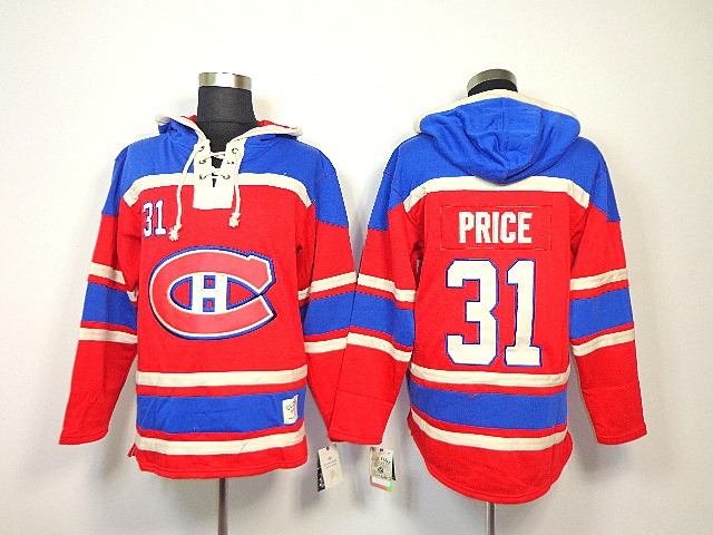 NHL Montreal Canadiens 31 Carey Price Red Sawyer Lace Up Pullover Hooded Sweatshirt