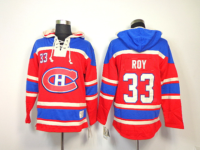 NHL Montreal Canadiens 33 Patrick Roy Red Sawyer Lace Up Pullover Hooded Sweatshirt