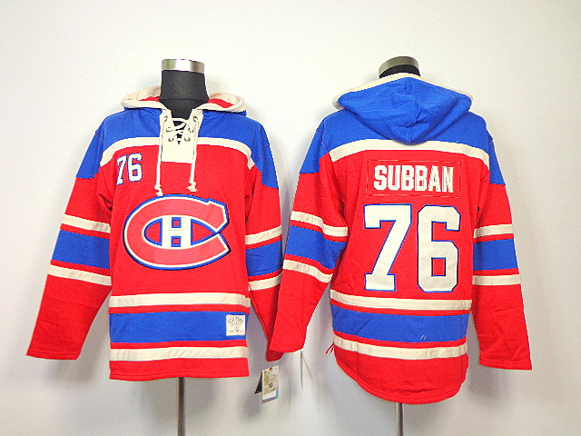 NHL Montreal Canadiens 76 P.K. Subban Red Sawyer Lace Up Pullover Hooded Sweatshirt