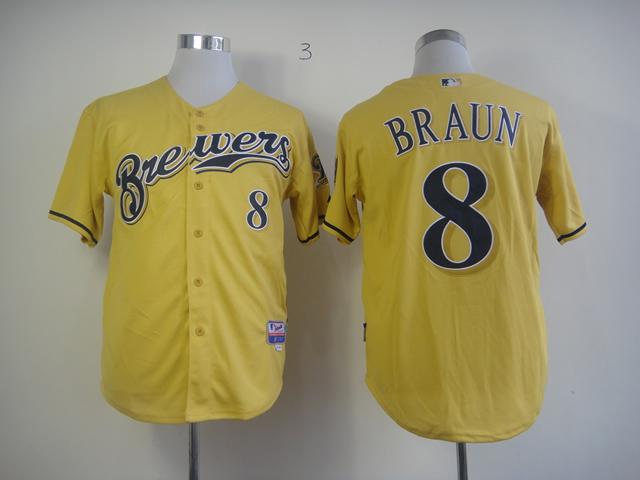 MLB Milwaukee Brewers 8 Braun Yellow 2013 Authentic Alternate Jersey