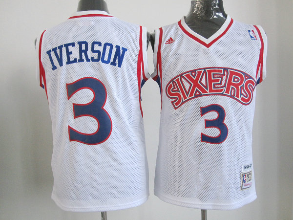 NBA Youth Philadelphia 76ers 3 Allen Iverson Rookie Season white jersey