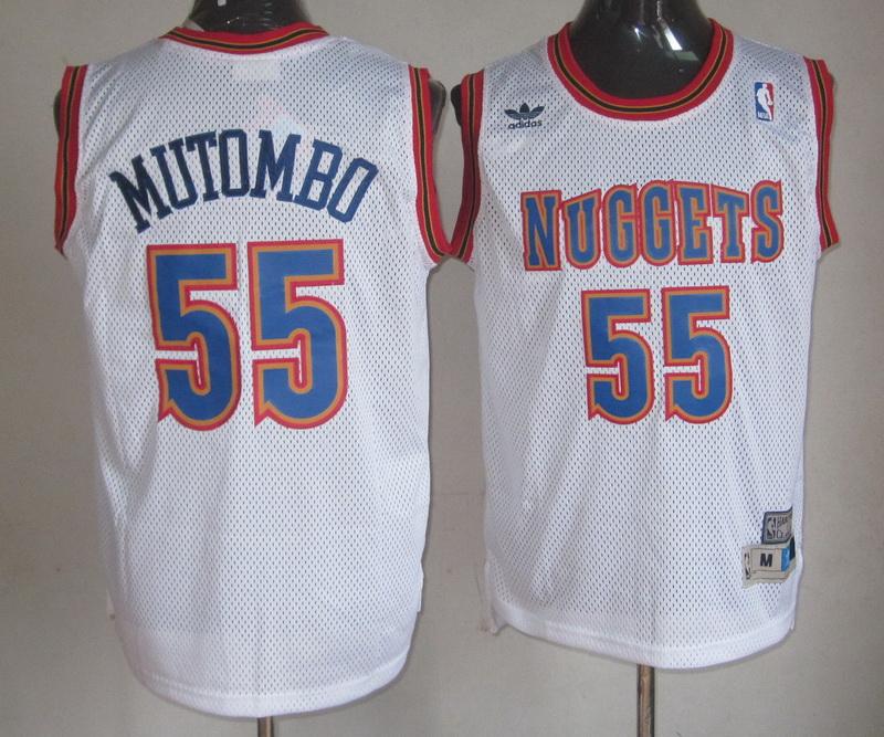 NBA Denver Nuggets 55 Dikembe Mutombo White Jersey