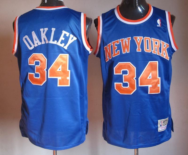 NBA New York Knicks 34 Charles Oakley Blue Revolution 30 Jersey