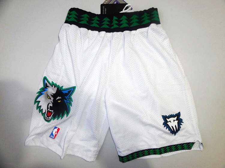 NBA Timberwolves throwback white shorts