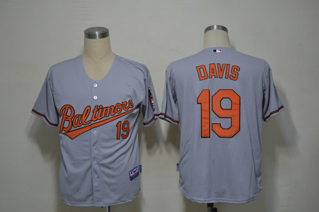 MLB Baltimore Orioles 19 Davis Grey Cool Base Jerseys