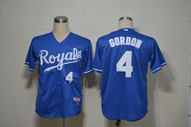 MLB Kansas City Royals 4 GORDON Blue Jerseys