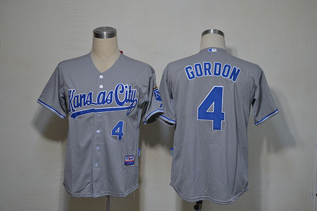 MLB Kansas City Royals 4 GORDON Grey Jerseys