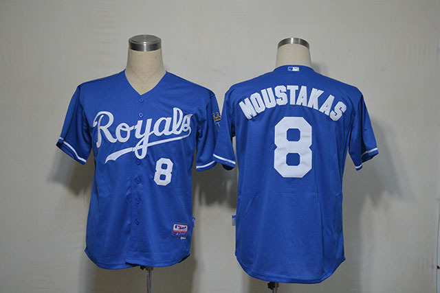 MLB Kansas City Royals 8 MOUSTAKAS Blue Jerseys