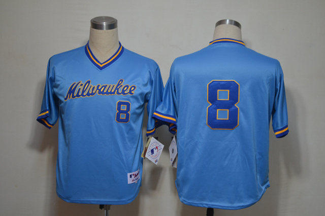 Mlb Milwaukee Brewers 8 Braun 1982 Blue Jersey