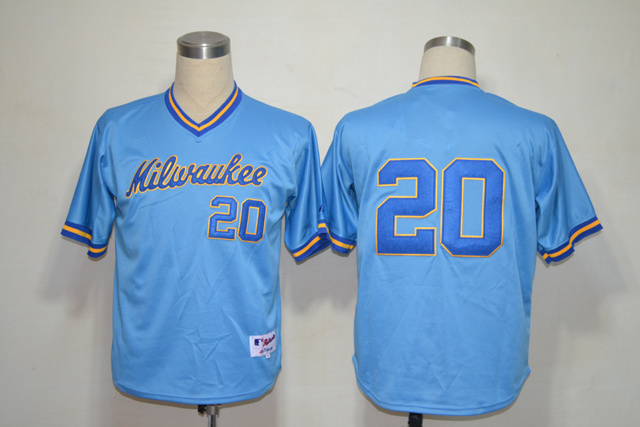 Mlb Milwaukee Brewers 20 Lucroy 1982 Blue Jersey