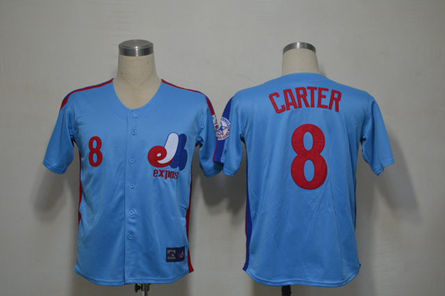 Mlb Montreal Expos 8 Carter Blue Throwback Jersey