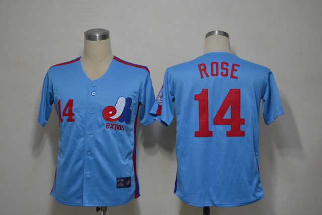Mlb Montreal Expos 14 Rose Blue Throwback Jersey