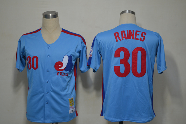 Mlb Montreal Expos 30 Tim Raines 1982 Blue Throwback Jerseys